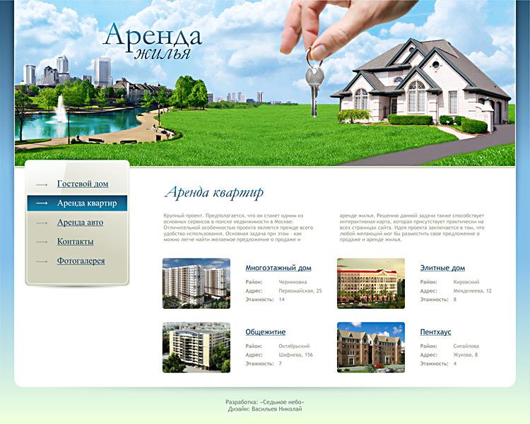 Сайт с арендой квартир